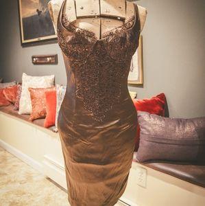 Vintage Brown Silk Bodice Dress